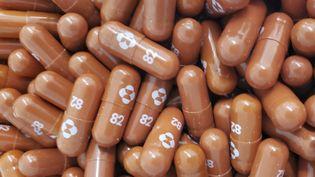 """Les pilules du traitement expérimental """"molnupiravir"""" contre le Covid-19, le 26 mai 2021 à Washington (Etats-Unis). (HANDOUT / MERCK & CO,INC./ AFP)"""