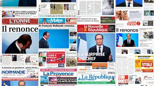 Montage des unes de la presse datées du 2 décembre 2016 après lerenoncement de François Hollande pour la présidentielle 2017. (DR)