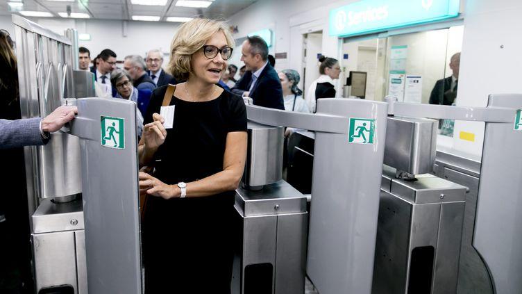 Valérie Pécresse, présidente de la région Ile-de-France, dans une station de métro à Paris, le 16 octobre 2018. (MAXPPP)