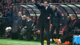 L'entraîneur du Paris-Saint-Germain, Unai Emery, lors du match contre Guingamp, samedi 17 décembre. (FRED TANNEAU / AFP)