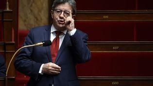 Jean-Luc Mélenchon s'exprime à l'Assemblée nationale, le 17 avril 2020, à Paris. (THOMAS COEX / AFP)