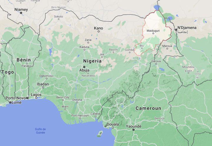 Le massacre s'est déroulé dans l'Etat du Borno (en rouge), région limitrophe du Tchad et du Niger, épicentre de l'insurrection jihadiste. (GOOGLE MAPS / FRANCETV INFO)
