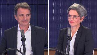"""Sandrine Rousseau et Éric Piolle, candidats à la primaire écologiste, étaient les invités du """"8h30 franceinfo"""" du jeudi 9 septembre 2021. (FRANCEINFO / RADIOFRANCE)"""