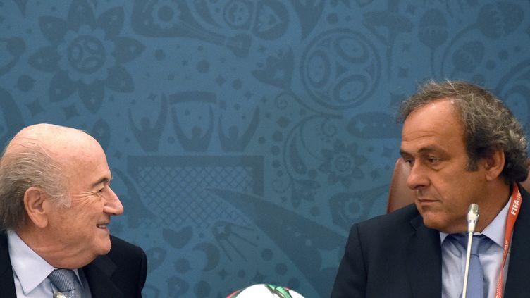 Sepp Blatter sourit à Michel Platini... (MARCUS BRANDT / DPA)