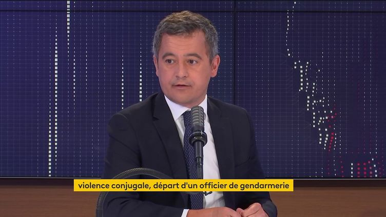 Le ministre de l'Intérieur Gérald Darmanin invité du 8h30 franceinfo le 24 août 2021. (CAPTURE ECRAN / FRANCEINFO)
