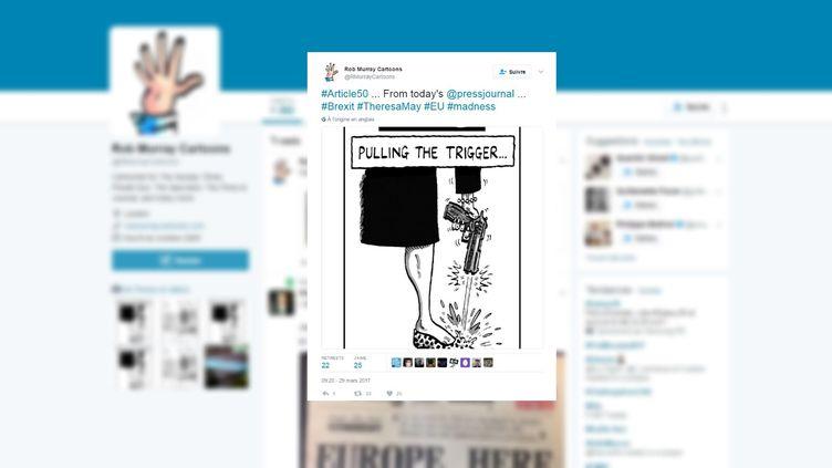 Le dessinateur Rob Murraya publié sur Twitter, le 29 mars 2017, un croquis sur le déclenchement du Brexit. (ROB MURRAY CARTOONS)