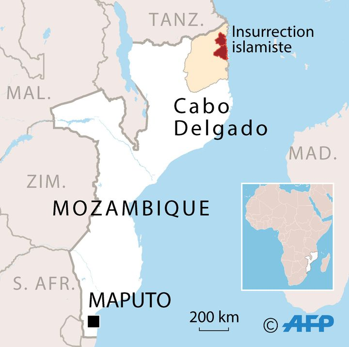 En rouge, les zones de la province du Cabo Delgado régulièrement attaquées par des groupes jihadistes depuis 2017. (AFP)