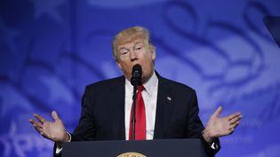 Donald Trump lors de la Conservative political action conference, àNational Harbor (Maryland, Etats-Unis), le 24 février 2017. (KEVIN LAMARQUE / REUTERS)