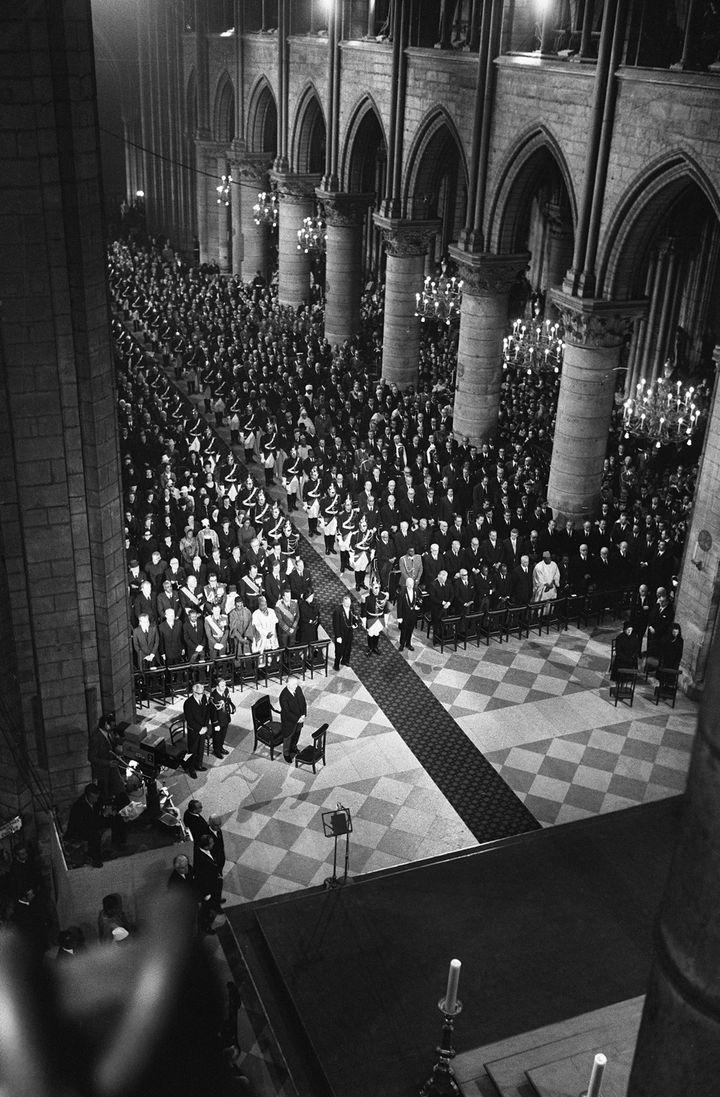 Les obsèques de Georges Pompidou le 5 avril 1974. (AFP)