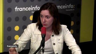 """Roxane Lundy, la présidente du mouvement desJeunes socialistes, était l'invitée du """"19h20 politique"""" mercredi 18 avril sur franceinfo. (FRANCEINFO)"""