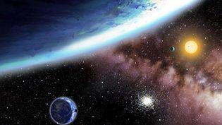 Vue d'artiste fournie par le centre d'astrophysique de l'université de Harvard (Etats-Unis) des exoplanètes Kepler-62e et Kepler-62f, qui sont les planètes extrasolaires les plus similaires à la Terre découvertes jusqu'à maintenant. (AP / SIPA)