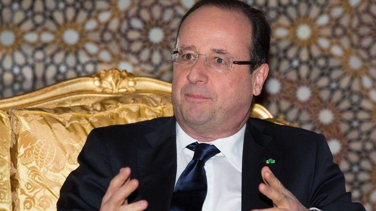 4 avril 2013, le président François Hollande au Maroc (DIDIER BAVEREL / AFP)