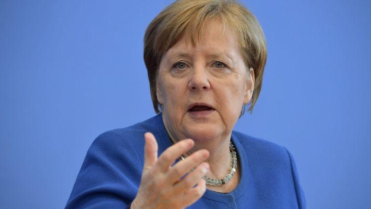 La chancelière allemande, Angela Merkel, lors d'une conférence de presse, le 11 mars 2020. (TOBIAS SCHWARZ / AFP)
