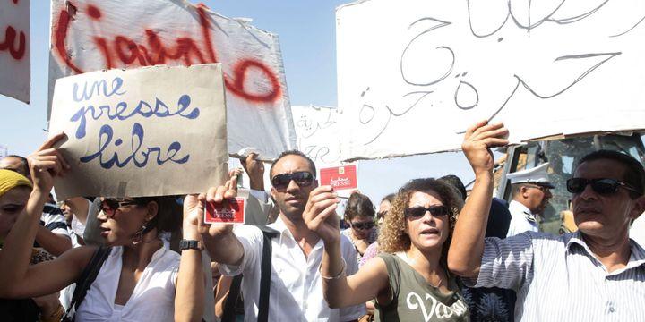 Manifestation de journalistes devant les bureaux du Premier ministreà Tunisle 28-9-2013. (Reuters-Zoubeir Souissi)