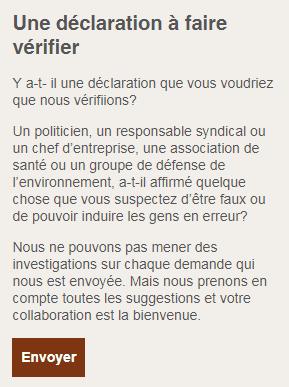 Formulaire en ligne pour la demande d'une vérification (Capture d'écran )