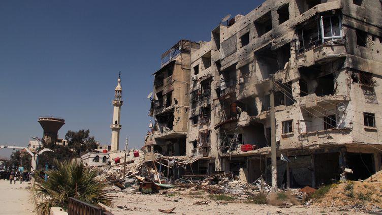 Un quartier du camp de Yarmouk, au sud de Damas (Syrie), samedi 4 avril 2015. (DMITRIY VINOGRADOV / RIA NOVOSTI / AFP)