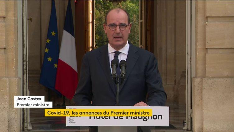 Le Premier ministre Jean Castex lors de son discours à l'hôtel Matignon à Paris, le 11 septembre 2020. (FRANCEINFO)