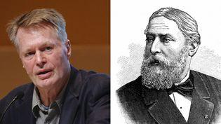Deux écrivains français, deux Nobel à un siècle d'écart. J.M.G Le Clézio en 2008 (ici, le 28 novembre 2010 à Guadalajara, au Mexique) ; Sully Prudhomme (1839-1907) en 1901, ici représenté sur une gravure  (Efe MaxPPP / AFP)