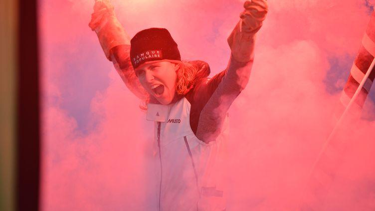 Clarisse Cremer, skipper sur Imoca Banque Populaire X est arrivée 12e au classement général, aux Sables d'Olonne le 3 février 2021, après 87 jours et 2 heures de navigation pour la 9e édition en solo sans escale de cette course mythtique, le Vendée Globe. (CHRISTOPHE FAVREAU / DDP VIA AFP)