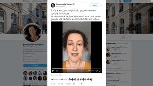 Emmanuelle Wargon,secrétaire d'Etat auprès du ministre de la Transition écologique, dans une vidéo postée sur son compte Twitter le 4 novembre 2018. (EMMWARGON / TWITTER)