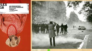 A gauche, l'affiche des 49e Rencontres d'Arles - A droit, Manifestation du 6 mai 1968. Reportage sur les barricades construites par les étudians. Service de la mémoire et des Affaires culturelles  (Avec l'aimable autorisation de la Préfecture de police de Paris)
