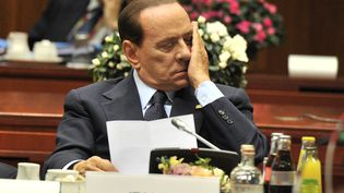 Silvio Berlusconi lors de la réunion des dirigeants de la zone euro, le 23 octobre 2011 à Bruxelles (Belgique). (GEORGES GOBET/AFP)