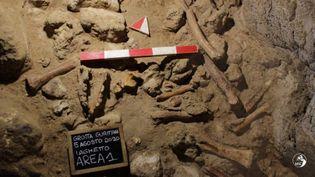 Les restes de neuf Néandertaliens découverts dans la Grotte de Guattari, à San Felice Circeo, sur la côte entre Rome et Naples, 8 mai 2021 (HANDOUT / ITALIAN MINISTRY OF CULTURE)