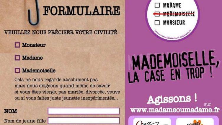 """Affiche de la campagne """"Mademoiselle, la case en trop"""", par Osez le féminisme et les Chiennes de garde. (FTVI)"""