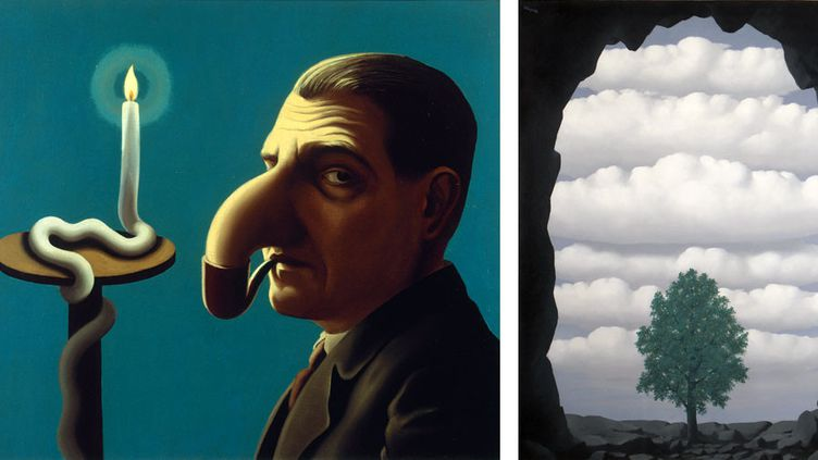 """René Magritte : à gauche, """"La lampe philosophique"""", 1936, collection particulière - A droite, """"Le souvenir déterminant"""", 1942, collection privée  (A gauche © Adagp, Paris 2016 et © Photothèque R. Magritte / BI, Adagp, Paris 2016 - A droite © Studio Fotografico Carlo Pessina, Domodossola © ADAGP, Paris 2016)"""