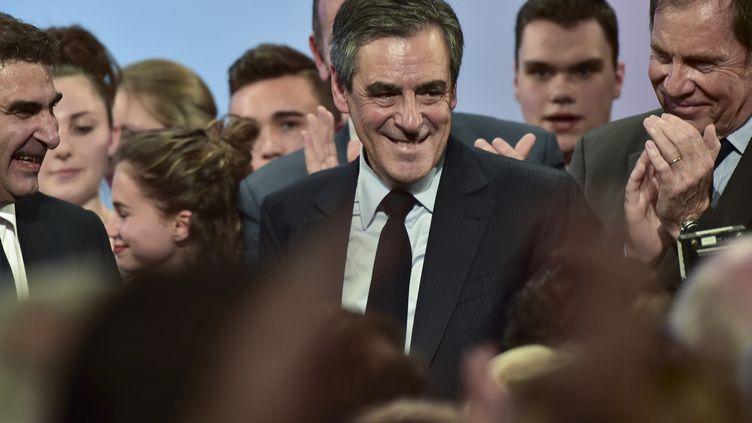 François Fillon tenait un meeting à Provins, en Seine-et-Marne, mercredi 5 avril. (CHRISTOPHE ARCHAMBAULT / AFP)