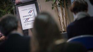 Une conférence de presse à la Commission nationale des comptes de campagne, le 15 octobre 2013 à Paris. (MAXPPP)