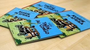 """La couverture de l'album """"Tintin au Congo"""", photographiée le 7 août 2007. (SEBASTIEN PIRLET / BELGA)"""
