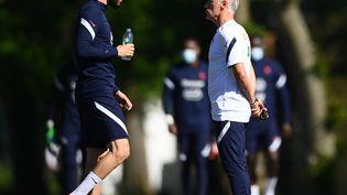 En réintégrant Karim Benzema (gauche) en équipe de France, Didier Deschamps (droite) a ajouté une variable dans l'équation. (FRANCK FIFE / AFP)