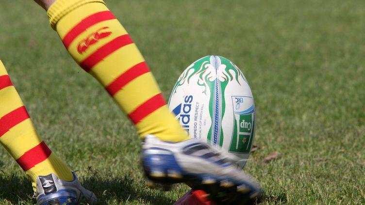 Un joueur de l'équipe de rugby de Perpignan frappe le ballon. Photo d'illustration. (MICHEL CLEMENTZ / MAXPPP TEAMSHOOT)
