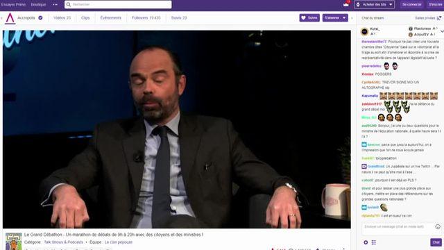 edouard philippe lors de son débat sur Twitch
