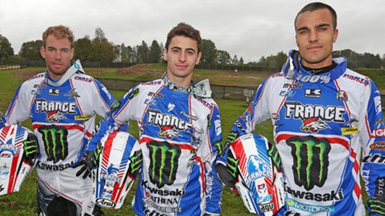 L'équipe de France pour le MX des Nations 2014 : Steven Frossard, Dylan Ferrandis et Gautier Paulin