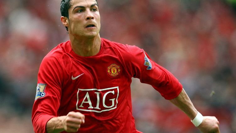 Le Portugais Cristiano Ronaldo sous le maillot de Manchester United, le 3 mai 2008. (PAUL ELLIS / AFP)