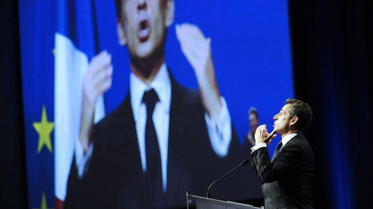 Nicolas Sarkozy à Nantes (Loire-Atlantique), le 27 mars 2012. (JEAN-SEBASTIEN EVRARD / AFP)