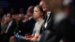 La militante économiste Greta Thunberg lors du discours de Donald Trump à Davos (Suisse) mardi 21 janvier 2020. (FABRICE COFFRINI / AFP)