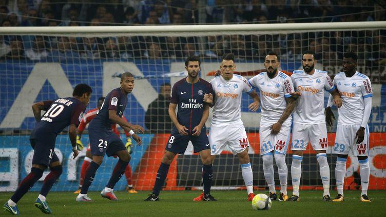 Au match aller en championnat, le 22 octobre 2017, le PSG et l'OM avaient fait match nul 2-2. (MAXPPP)