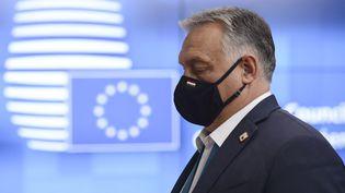 Le Premier ministre hongrois Viktor Orbán à Bruxelles (Belgique) le 16 octobre 2020. (JOHANNA GERON / POOL / AFP)