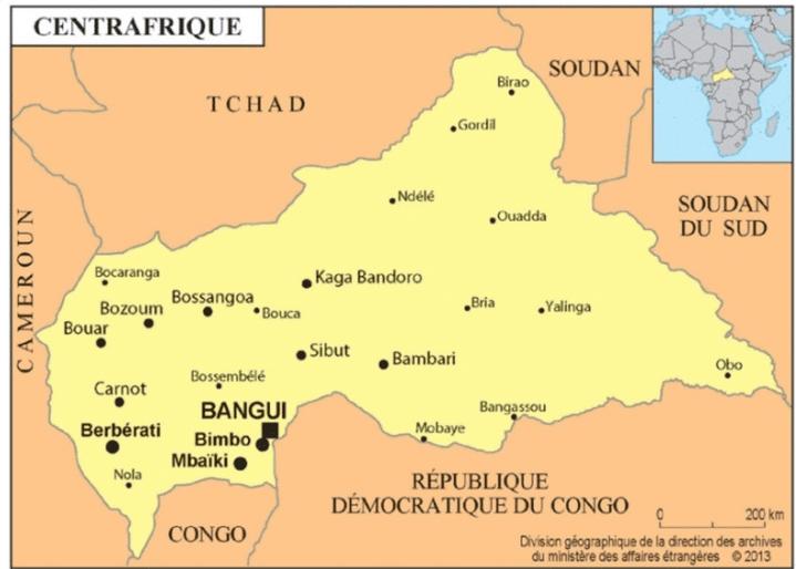La carte de la République centrafricaine (Capture d'écran du site du ministère français des affaires étérangères)