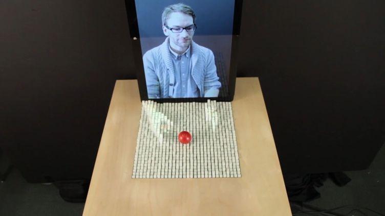 La table est composée de centaines de barres cubiques et qui s'élèvent en fonction d'un modèle présenté devant un capteur vidéo. (CAPTURE D'ECRAN VIMEO / FRANCETV INFO)