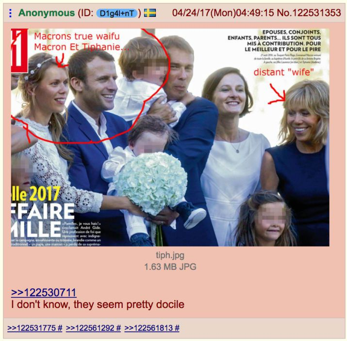 """Une photo parue dans """"Paris Match"""" lors du baptême de l'enfant de Tiphaine Auzière. Les utilisateurs de 4chan ont entouré son visage en légendant """"La vraie femme de Macron"""". (DR)"""