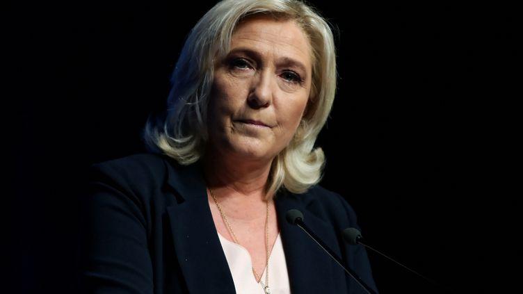 Marine Le Pen, candidate du Rassemblement national à la présidentielle 2022, lors du congrès du parti à Perpignan, le 4 juillet 2021. (VALENTINE CHAPUIS / AFP)