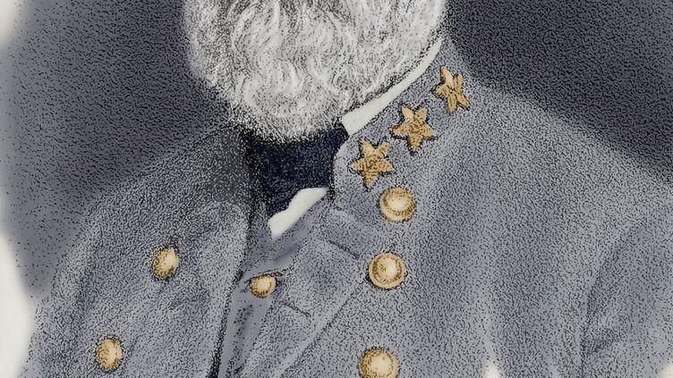 """Portrait du général Robert Edward Lee (1807-1870), commandant des armées confédérées durant la guerre de Sécession.Gravure extraite de """"L'histoire universelle"""", 1892. (LEEMAGE / AFP)"""
