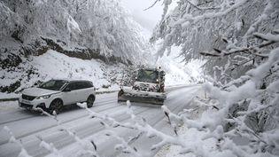 Un chasse-neige à Vizzavona en Corse, le 20 janvier 2020. (PASCAL POCHARD-CASABIANCA / AFP)