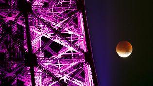 """Cette """"super Lune de sang"""" était l'occasion de marier les couleurs comme ici à Paris, avec une Tour Eiffel qui s'est drapée de violet pour l'occasion. ( CHARLES PLATIAU / REUTERS)"""