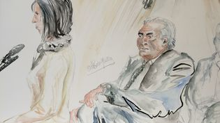 M., ex-prostituée et Dominique Strauss-Kahn, au tribunal correctionnel de Lille (Nord), mardi 10 février 2015. (ELISABETH DE POURQUERY / FRANCETV INFO)