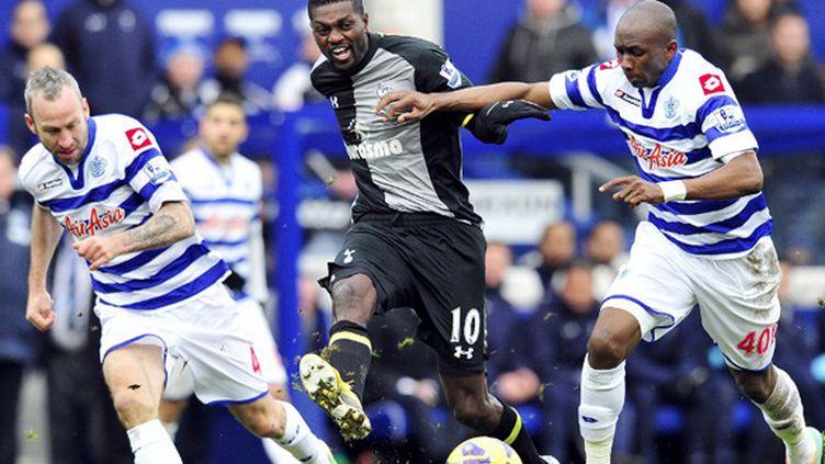 Les efforts d'Adebayor n'ont pas permis à son équipe d'arracher la victoire face à QPR.  (GLYN KIRK / AFP)